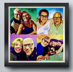 Custom Pop Art posters and canvas prints created by professional digital artists from your pictures and photographs. Bespoke photo gift ideas inspired by artists Andy Warhol & Roy Lichtenstein. Canvas Artwork, Wall Canvas, Canvas Prints, Art Prints, Family Picture Collages, Family Photos, Pop Art Posters, Poster Prints, Father Birthday
