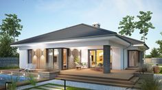 Projekt domu Miriam III 118,10 m² - koszt budowy - EXTRADOM Simple Bungalow House Designs, Modern Bungalow House, Bungalow House Plans, Minimal House Design, Modern Small House Design, Simple House Exterior Design, House Plans Mansion, Dream House Plans, House Architecture Styles