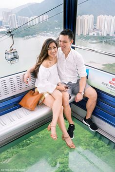 his & her travel outfits // Ngong Ping 360 glass bottom cable car in Hong Kong