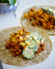 easy wraps with curried chickpeas and cucumber salad