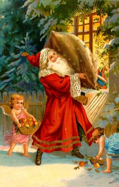 Santa and Two Cherubs Delivering Gifts Series 15913 A Joyful Yuletide Vintage Christmas Images, Victorian Christmas, Christmas Pictures, Christmas Postcards, Very Merry Christmas, Father Christmas, Xmas, Vintage Santa Claus, Vintage Santas