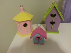 Birdhouses for my fairy/garden theme. (Birdhouses, flower stickers, and paint are from Michaels)