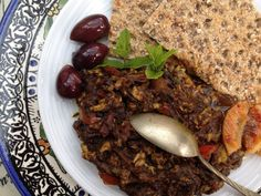 Black Garlic, Roasted Aubergine & Tomato Persian-Style Dip (mirza ghasemi) via @pinterest.co.uk/MaryamSinaiee1