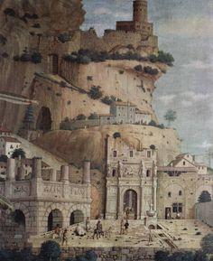 St. Sebastian (detail of the antique city in the background) - Andrea Mantegna 1480 Canvas 255 x 140 cm Musée du Louvre, Paris Full image