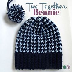 Crochet Beanie Design Two Together Beanie ~ FREE Crochet Pattern - FREE crochet pattern for the Two Together Beanie. The crochet beanie is crocheted in two colors and is easy to adjust in size. Bonnet Crochet, Crochet Diy, Crochet Beanie Pattern, Crochet Baby Hats, Crochet Gifts, Knitted Hats, Motifs Beanie, Crochet Designs, Crochet Dresses