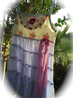 Rustic Romantic Summer Dress Ribbon Rose Shabby Chic by IzzyRoo