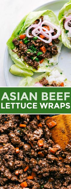 """beef lettuce cups with coconut lime jasmine rice, veggies, and quick """"pickled"""" shallot. Recipe via chelseasmessyapron asian ground keto pfchangs 82894449379552052 Asian Lettuce Wraps, Lettuce Wrap Recipes, Lettuce Wraps Ground Beef, Healthy Eating Tips, Clean Eating, Healthy Recipes, Healthy Food, Veggie Asian Recipes, Lactuca Sativa"""