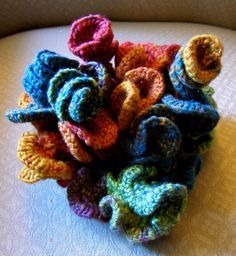 "Hyperbolic crochet sculpture: Fiber Art Reflections - freeform crochet ""pattern"""