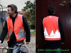 Gilet fluo rouge, trans'Ju, rayon_jaune Couture, Bomber Jacket, Vest, The Originals, Jackets, Fashion, Red, Down Jackets, Moda
