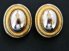 Mid Century Oval Dome Earrings Clip On Retro Estate Costume Jewelry #ClipOn