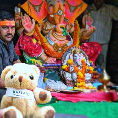 #KaplanBear #celebrating #Ganpati, in #Mumbai, #India. He is #posing with the #idol of the #Indian #God. The Kaplan Bear is with Sanil that works on KIC India office, recruiting #students who want to do a #UK #degree. by KIC Pathways - University Preparation Courses, via Flickr