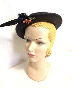 Black Straw Hat with Fruit and Feathers By A New Wadley Original, Women's Novelty Hat, Rockabilly Pin Up Clothing Vintage Hats, Vintage Ladies, 1940s Woman, Novelty Hats, Pin Up Outfits, Rockabilly Pin Up, Boater, Black Feathers, Vintage Yellow