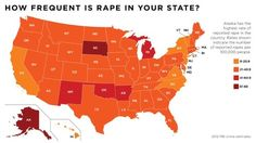 """""""How Frequent Is Rape in Your State?""""  Alaska has the highest rate of reported rape in the country. Rates shown indicate the number of reported rapes per 100,000 people.  [follow this link to find a short video and analysis of the violence men perpetrate against women: http://www.thesociologicalcinema.com/1/post/2012/01/how-big-of-a-problem-is-rape-and-sexual-assault.html]  Source: FBI Crime Estimates, 2012"""