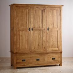 Original Rustic Solid Oak Triple Wardrobe
