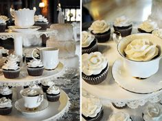 Tea cups and cup cakes - wedding display with LACE!  :) #lace #wedding #cupcakes #rose