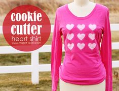 Cookie Cutter Heart Shirt: love is in the air!  Full tutorial how to make these cut out hearts from a plain t-shirt. www.makeit-loveit.com