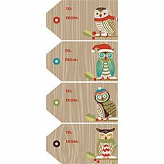 Owl Christmas labels