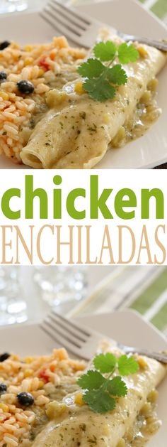 These Chicken Enchiladas are so delicious and perfect for an easy dinner tonight. This is a quick recipe that is perfect served with Spanish Rice and green sauce.