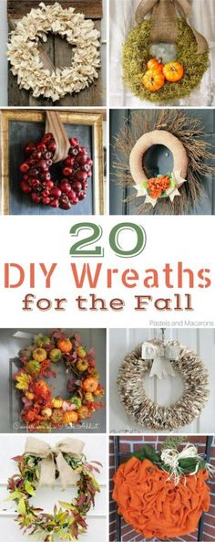20 Stunning DIY Fall Wreaths you can make this Fall. Get so much inspiration and step by step tutorials for this years diy fall decor!You will simply love