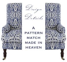 Design Details: A Pattern Match Made in Heaven - Linda Merrill Pattern Matching, Made In Heaven, Blog Images, Match Making, Upholstered Chairs, Window Treatments, Armchair, Upholstery, Interior Design