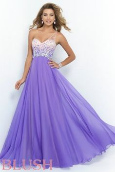 Violet Long Prom Dresses 2015 with One Strap by Blush 9965