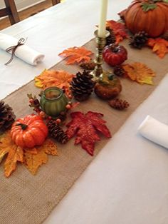 Thanksgiving Tablecloth, Napkins and Decorative Fall Setting, Set Includes White Linens (Natural Burlap Runner) Hosting Thanksgiving, Thanksgiving Table Settings, Thanksgiving Parties, Thanksgiving Tablescapes, Holiday Tables, Thanksgiving Crafts, Thanksgiving Decorations, Table Decorations, Kindergarten Thanksgiving