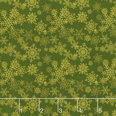 Glad Tidings - Snowflakes Green Yardage