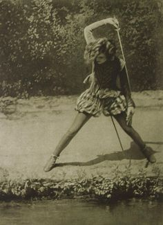 """internationalspacehobo:  """"holdthisphoto:  """"1927  """"  Caption translates as """"Juana in a fight with her reflection in a pond"""" """""""