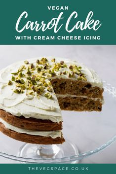 Easy Vegan Carrot Cake with no weird ingredients! Deliciously moist with cream 'cheese' icing and pistachios. Vegan Carrot Cakes, Vegan Cake, Cream Cheese Icing, Cake With Cream Cheese, Vegan Recipes Easy, Vegan Chocolate, Vanilla Cake, Carrots, Cake Recipes