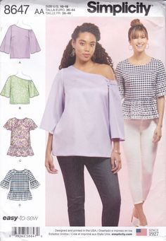 Modern Sewing Patterns, Simplicity Sewing Patterns, Sewing Projects For Beginners, Summer Tops, Summer Blouses, Boho Tops, Flutter Sleeve, Sew Pattern, Women's Tops