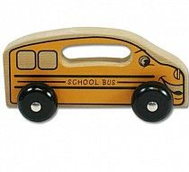 "Handeez School Bus $12.99 - This fun wooden bus has a built in handle for toddlers to grasp as they ""drive"" it around!"