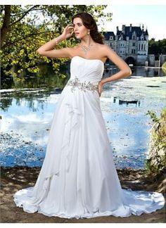 A-line Sweetheart Strapless Chiffon Wedding Dress