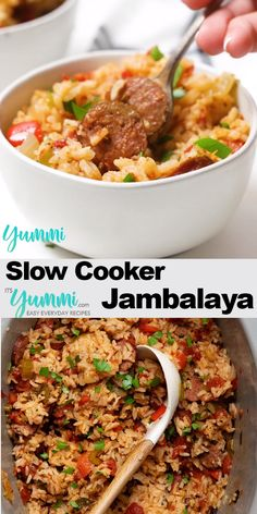 Slow Cooker Jambalaya is a spicy and flavorful family comfort food classic hardly requiring any effort at all. So unbelievably easy to make you WILL find yourself making this again and again. recipe soul food no meat Slow Cooker Jambalaya Slow Cooker Jambalaya, Planning Menu, Healthy Dinner Recipes, Good Crock Pot Recipes, Latin Food Recipes, Slow Cooker Summer Recipes, Crockpot Ground Turkey Recipes, Easy Comfort Food Recipes, Slow Cooker Hamburger Recipes