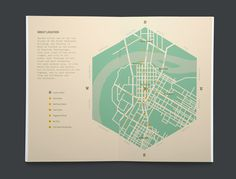 Everything about this is amazing! (colors, hexagon shape, NESW placed around map instead of a north arrow, and the lack of a neatline!) It looks so nice and balanced!| map for Society of Work by DJ Trischler