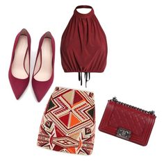 """""""Red outfit"""" by averye-beard on Polyvore featuring Topshop, Zara and Chanel"""