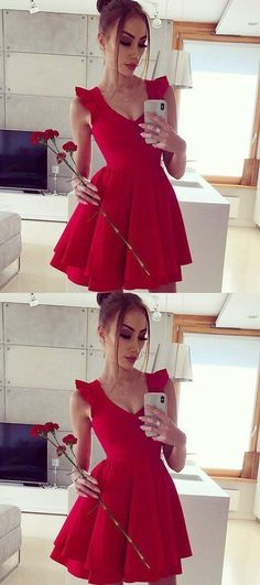 Cute Red Mini Cocktail Dress, Red Satin Prom Dress, Short Prom Gowns S – Simplepromdress Red Satin Prom Dress, Cheap Homecoming Dresses, Dress Red, Prom Gowns, Graduation Dresses, Wedding Dresses, Club Dresses, Sexy Dresses, Evening Dresses