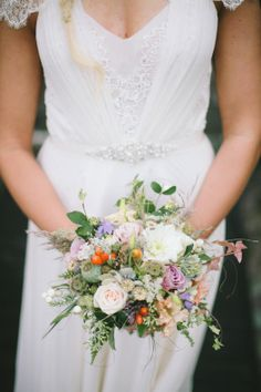 Bridal Bouquet, wild flower bridal bouquet. replace orange berries with something else, similar tone