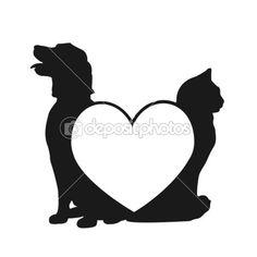 Gato y perro amor insignia — Ilustración de stock #9377788