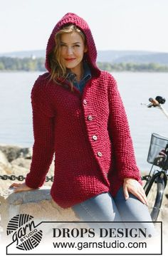 "Knitted DROPS jacket in moss st with hood in ""Andes"" or ""Eskimo"". Size: S - XXXL   Free pattern by DROPS Design."