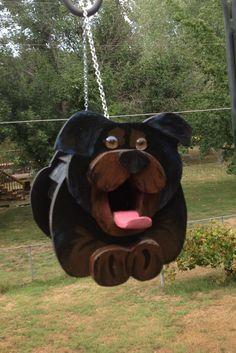 Rottweiler puppy Birdhouse or Bird Feeder by MyCountryHaven, $55.00