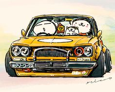 """crazy car art"" jdm japanese old school ""HAKOSUKA"" original characters ""mame mame rock"" / © ozizo Official web shop ""STAY CRAZY (in Society6)"" Official web shop ""ozizo(in Redbubble)"" ""Crazy Car Art"" Line stickers ""Crazy car Art"" Telegram stickers"