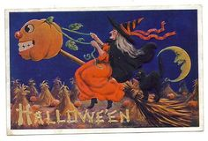 1909 Inter. Art,Halloween - With Riding Broom with Large Pumpkinhead - Black Cat (03/15/2013)