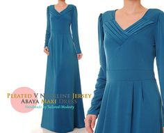 Teal Blue Pleated V Neckline Matte Jersey Long by Tailored2Modesty