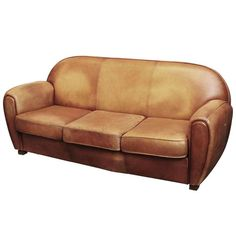 1950s Art Deco French Leather Sofa with Three Cushions 1