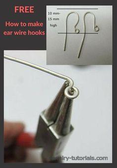 How to Make Ear Wire Hooks Wire Tutorials, Jewelry Making Tutorials, Beaded Jewelry, Handmade Jewelry, Pendant Jewelry, Amber Jewelry, Pendant Necklace, Wire Earrings, Pierced Earrings