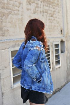 Hi everyone! It'sJenni from I Spy DIY,back with a series of DIY projects all around denim this Back to School season. My first project? A destroyed denim jacket. I used a men's denim jacket so guys can even get in on the crafting action with