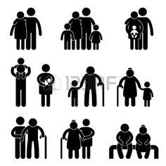 Happy Family Father Mother Grandmother Grandfather Children Son Daughter Baby Infant Toddler Old Man Woman Grandchildren Husband Wife Parent Together Icon Sign Symbol Pictogram photo