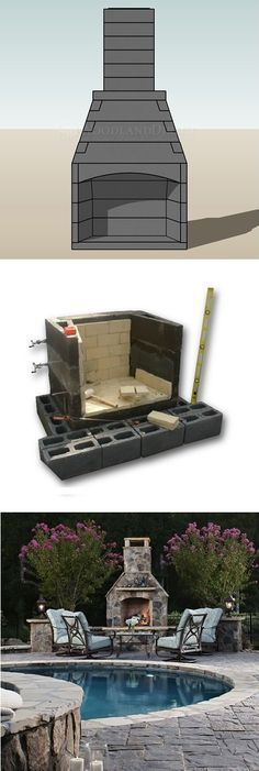 Spring DIY project: Outdoor masonry fireplace kits. Interlocking modular concrete pieces join together to create a masonry firebox that is stronger, lighter, and cheaper than a customary stonework installation. #ad