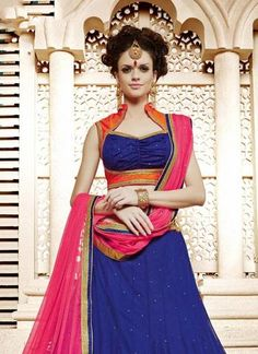 Crystals Stones Blue Wonderful Lehenga Choli This attire is nicely made with Embroidery & Lace work. Lehenga Suit, Bollywood Lehenga, Lehenga Choli Online, Lehenga Blouse, Bridal Lehenga Choli, Indian Dresses, Indian Outfits, Net Blouses, Silk Dupatta