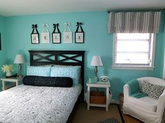 aqua color combos for rooms | ... the black as accent against the aqua; via Campbell Designs LLC.com
